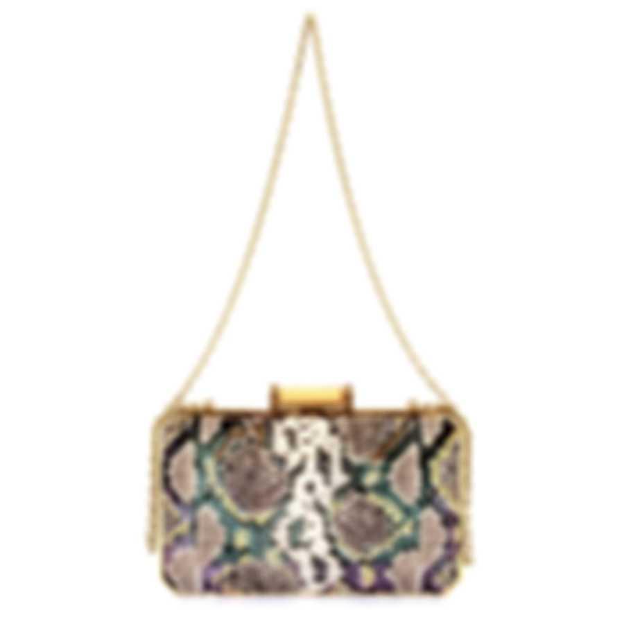 Judith Leiber Soho Grey Leather Clutch Handbag M195111