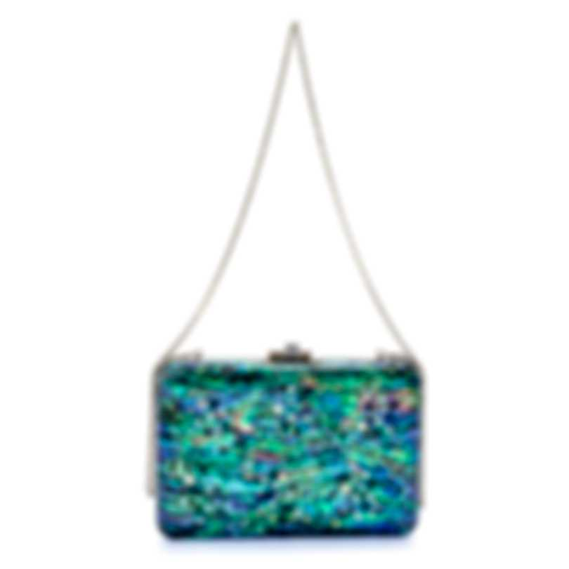 Judith Leiber Slim Slide Under The Sea Multi Shell And Leather Clutch Handbag M190663