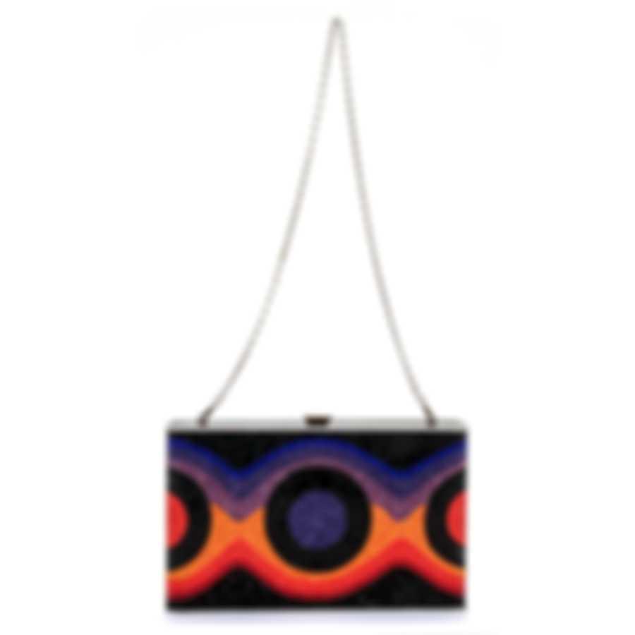 Judith Leiber Sideways Multi Crystal And Leather Clutch Handbag M191603