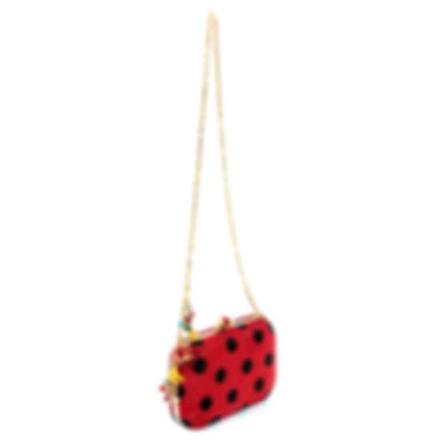 Judith Leiber Slide Lock Polka Dots Crystal And Leather Clutch Handbag M3178332