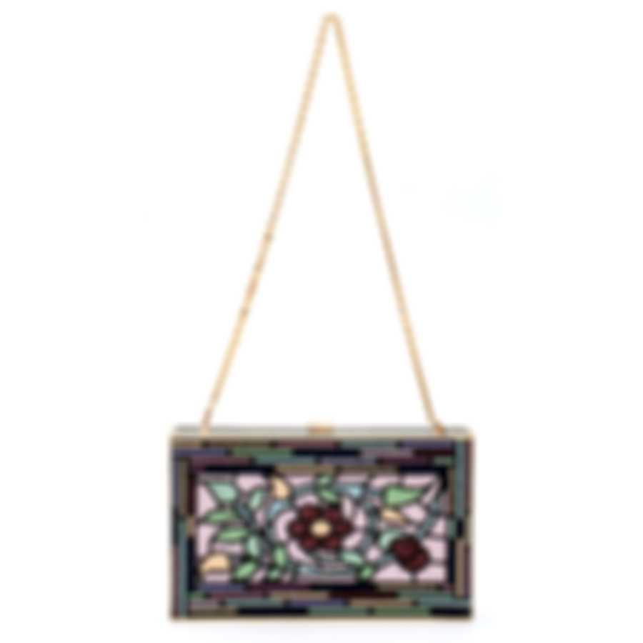 Judith Leiber Sideways Multi Crystal And Leather Clutch Handbag M31916
