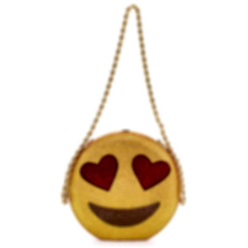 Judith Leiber Disc Daddy Cool Gold & Red Crystal Slim Clutch Handbag M31950