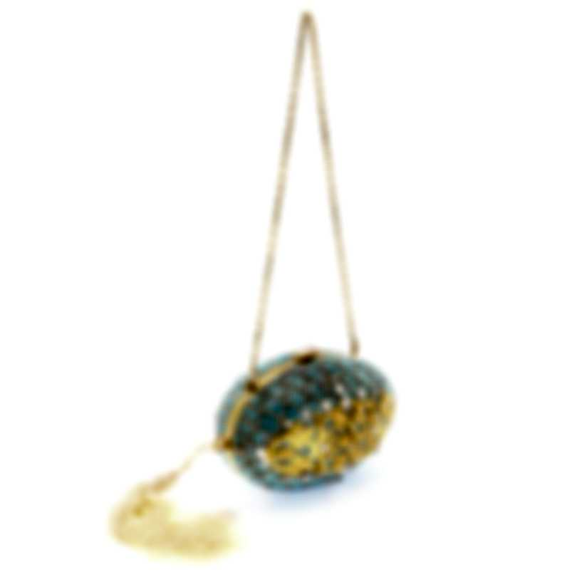 Judith Leiber Egg Ormulu Blue And Gold Crystal Clutch Handbag M839202