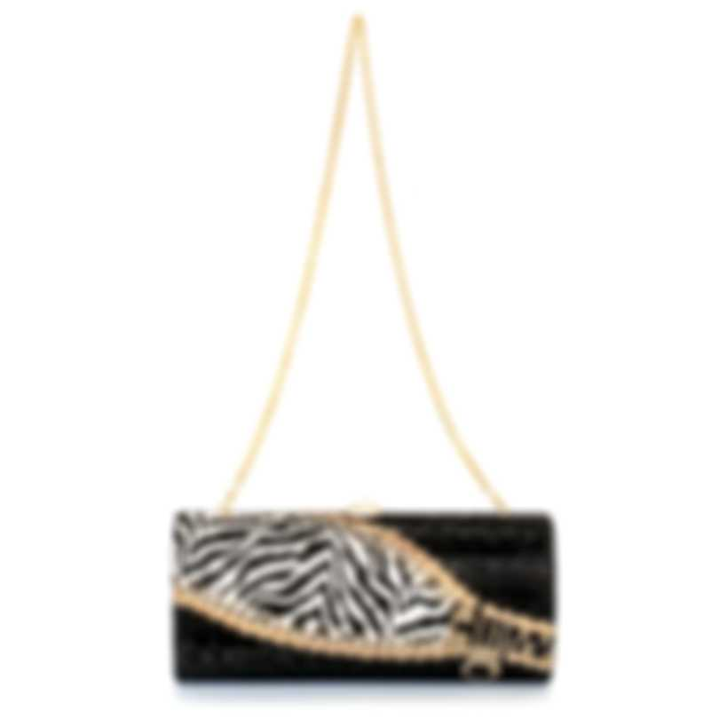 Judith Leiber Cylinder Black & Silver Crystal Clutch Handbag M933904