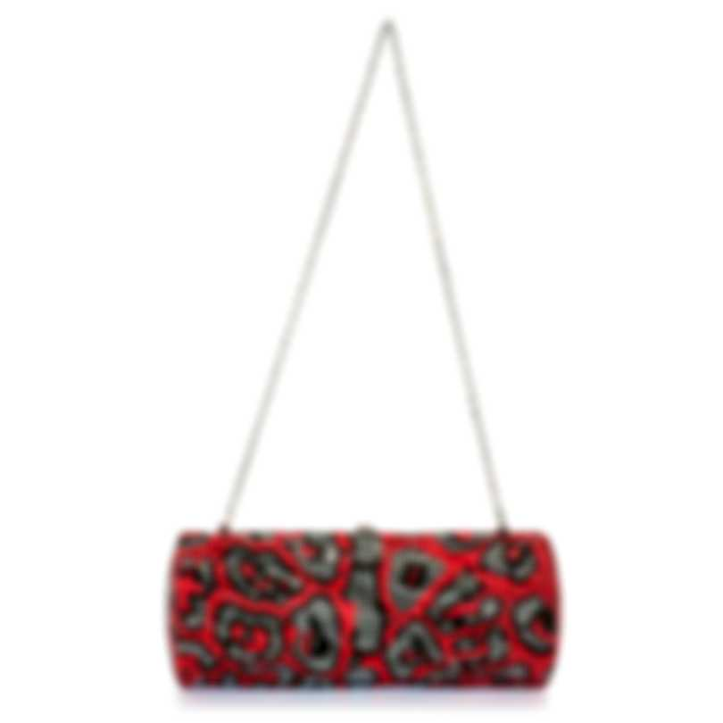 Judith Leiber Twisted Tube Red & Gunmetal Crystal Clutch Handbag M983502