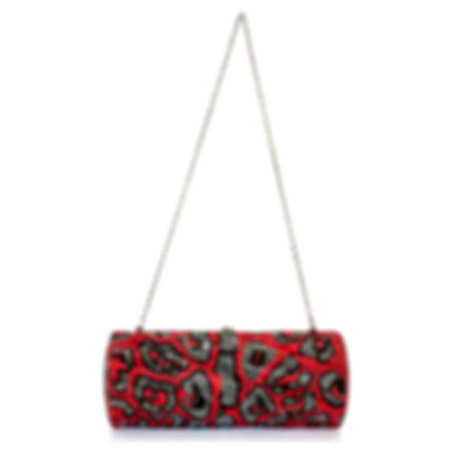 Judith Leiber Twisted Tube Red & Gunmetal Crystal Clutch Handbag M983502