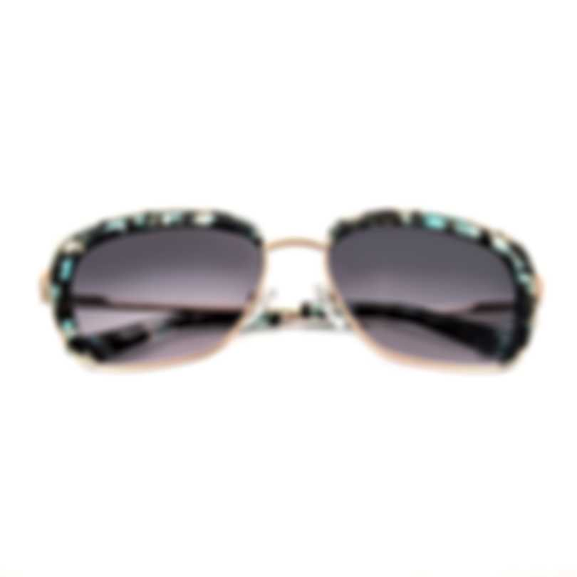 Oscar De La Renta Acetate Aqua And Gold & Grey Cat Eye Sunglasses SSC4040CEI-450