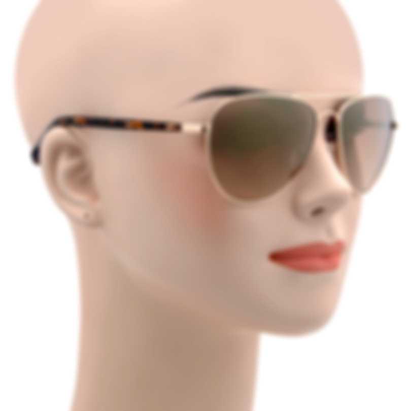 Oscar De La Renta Acetate Gold & Brown Aviator-style Sunglasses SSC4041CEI-218