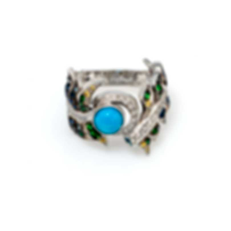 Lalique Paon 18k White Gold Diamond 0.27ct And Turquoise Ring Sz 7 10414400