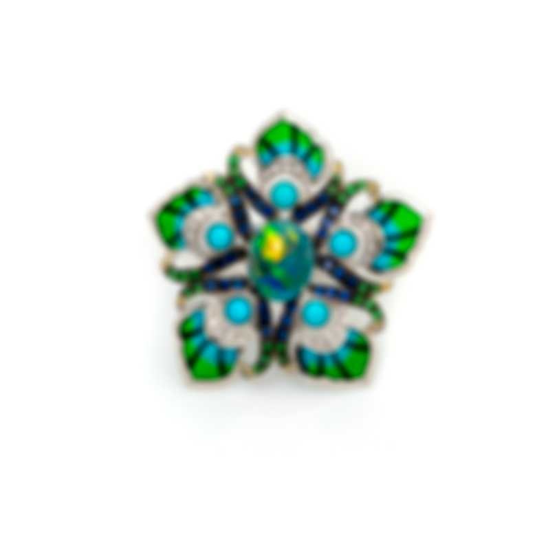Lalique Paon 18k White Gold Diamond 0.23ct And Opal Ring Sz 7.5 10415000