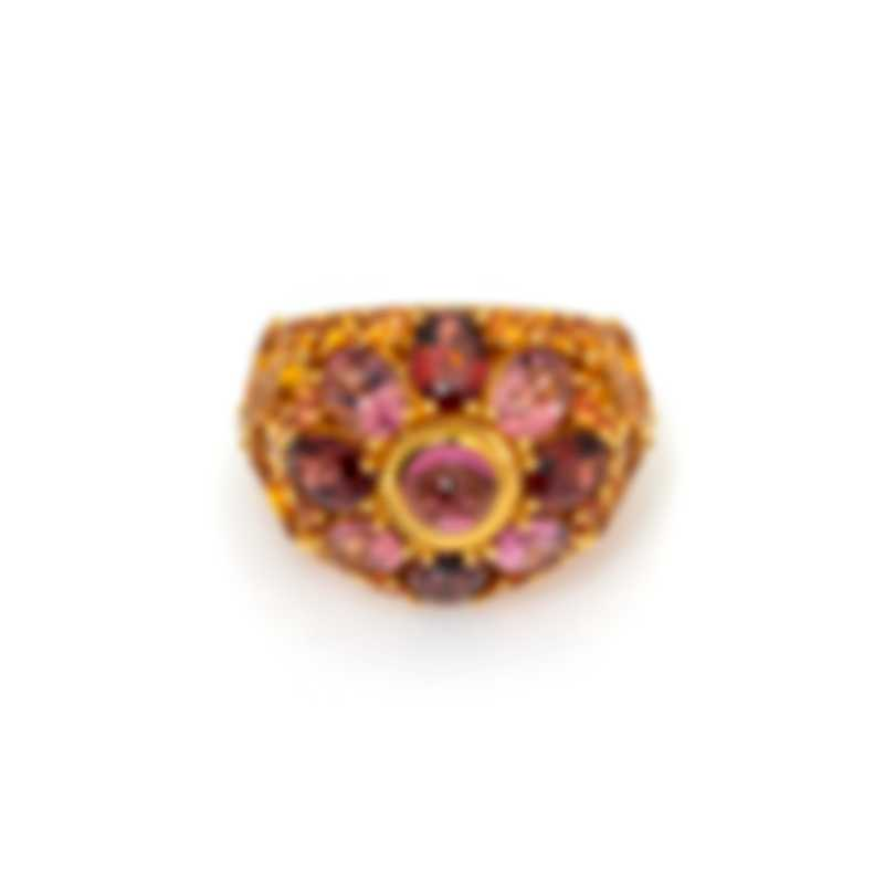 Lalique Psyche 18k Yellow Gold Diamond 0.06ct And Sapphire Ring Sz 7.75 10416800
