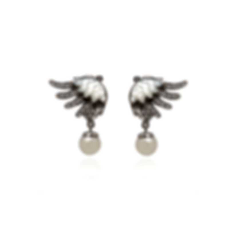 Lalique Vesta 18k White Gold Diamond 0.2ct And Pearl Earrings 10417800