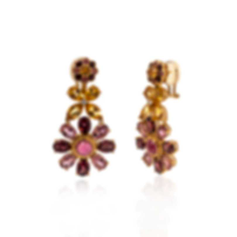 Lalique Psyche 18k Yellow Gold Diamond 0.07ct And Tourmaline Earrings 10417000
