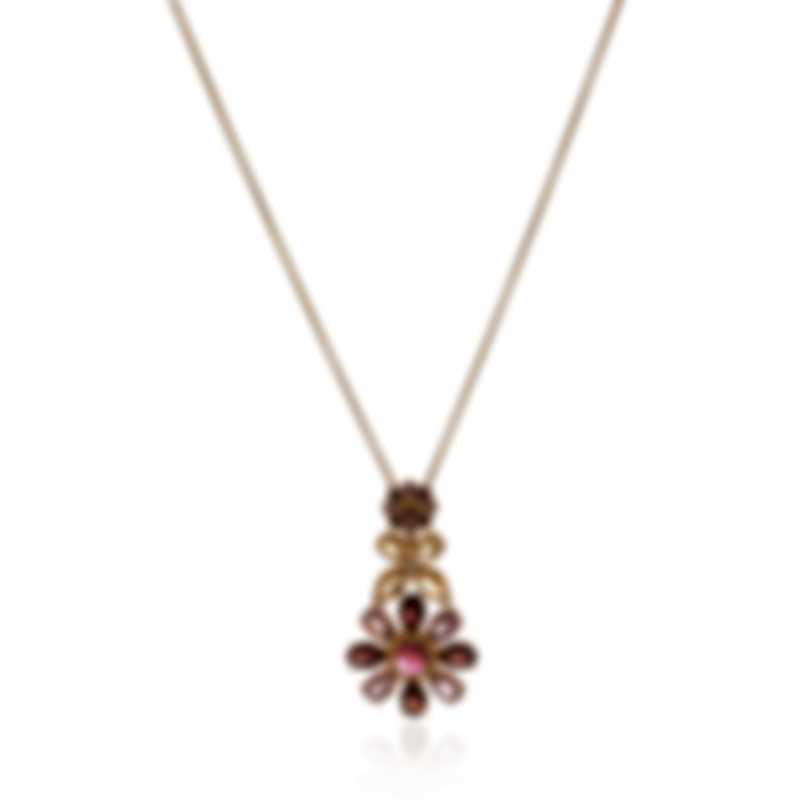 Lalique Psyche 18k Yellow Gold Diamond 0.03ct And Garnet Necklace 10417200