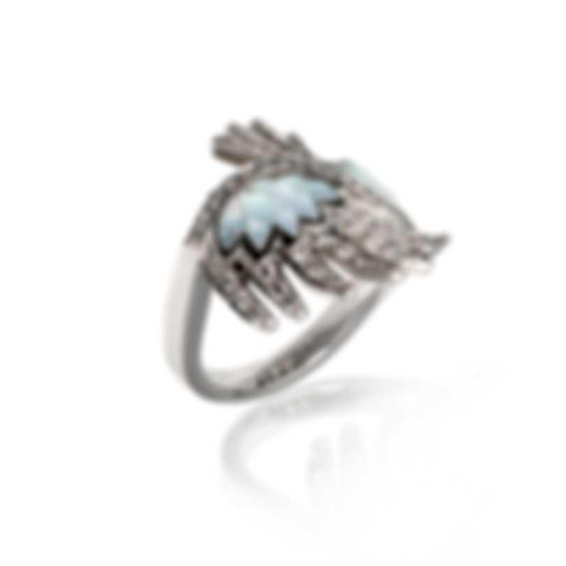 Lalique Vesta 18k White Gold Diamond 0.5ct Mother Of Pearl Ring Sz 6.75 10417500