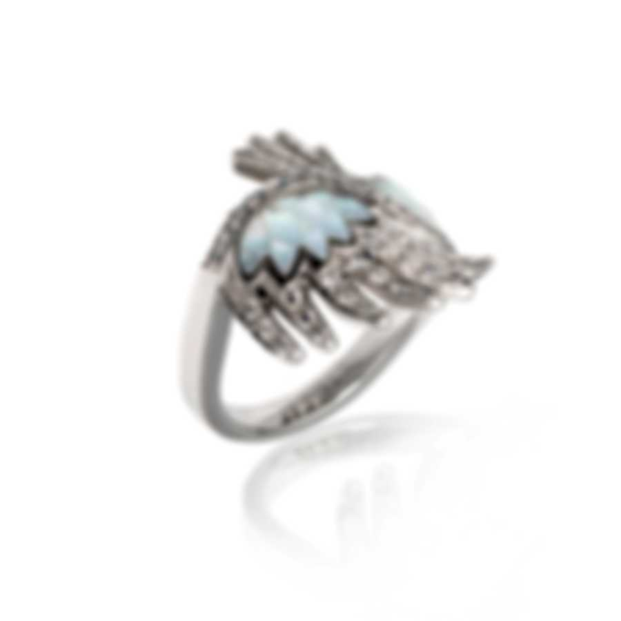 Lalique Vesta 18k White Gold Diamond 0.5ct Mother Of Pearl Ring Sz 5.5 10417300