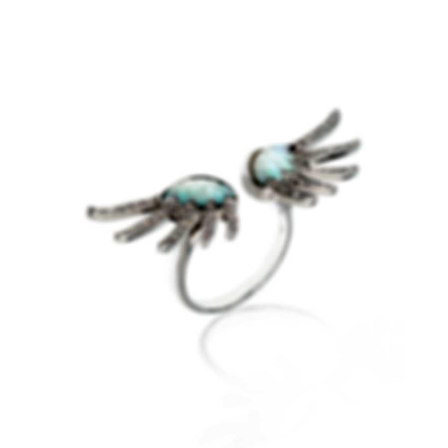 Lalique Vesta 18k White Gold Diamond 0.26ct Mother Of Pearl Ring Sz 8 10466600