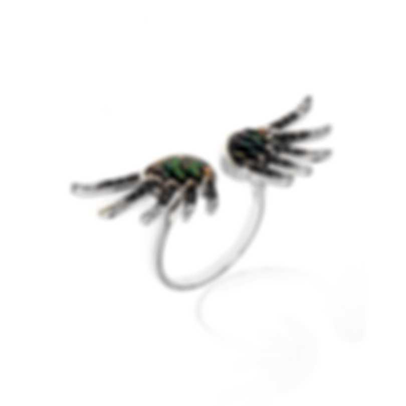 Lalique Vesta 18k White Gold Diamond 0.28ct Mother Of Pearl Ring Sz 8 10467200