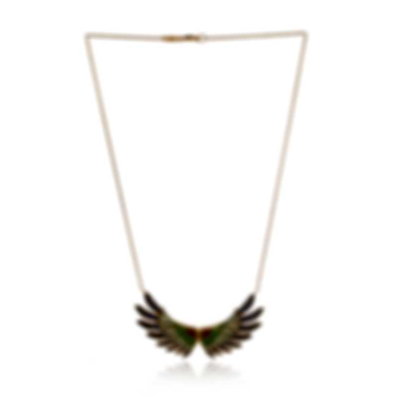 Lalique Perroquet 18k Yellow Gold And Tourmaline Necklace 10469900
