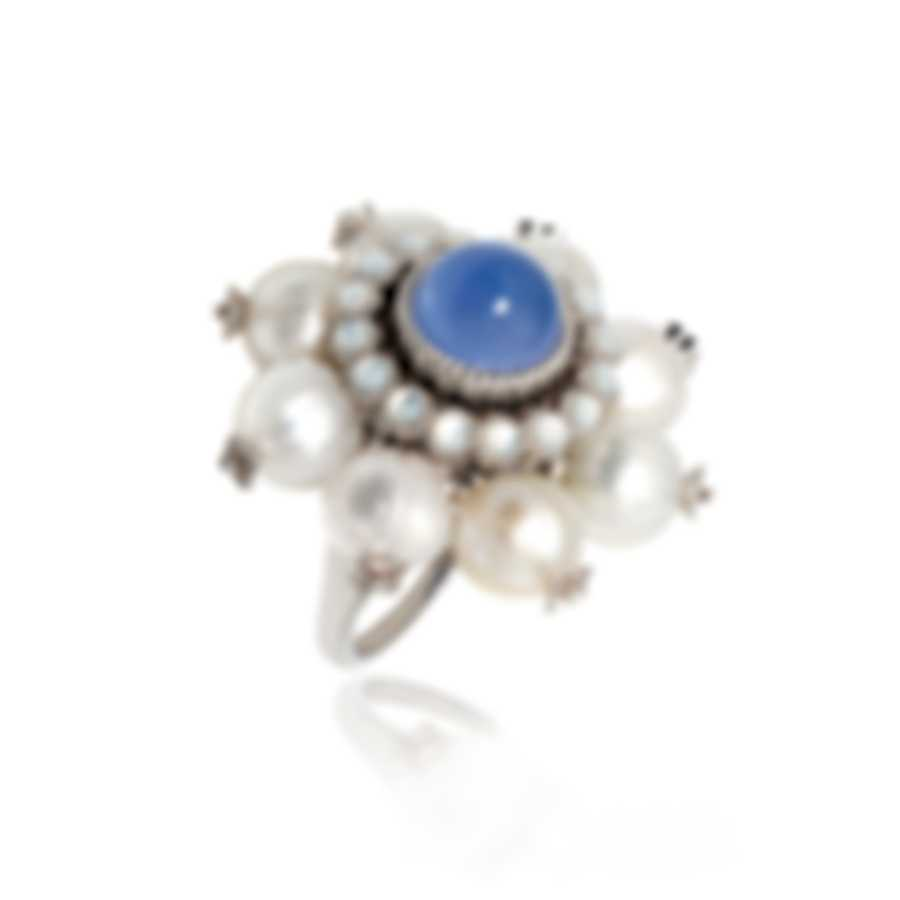 Lalique Muguet 18k White Gold Diamond 0.11ct And Cabochon Ring Sz 8.25 10469300