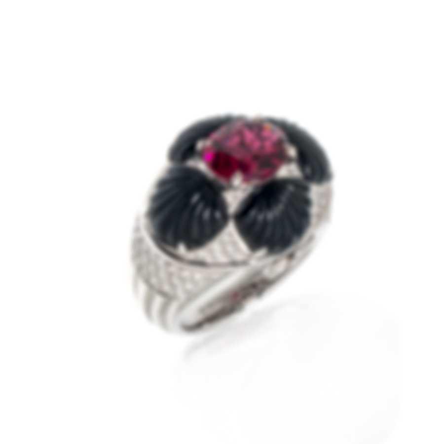 Lalique Adrienne 18k White Gold Diamond 0.71ct Rubellite Ring Sz 6.25 10471500