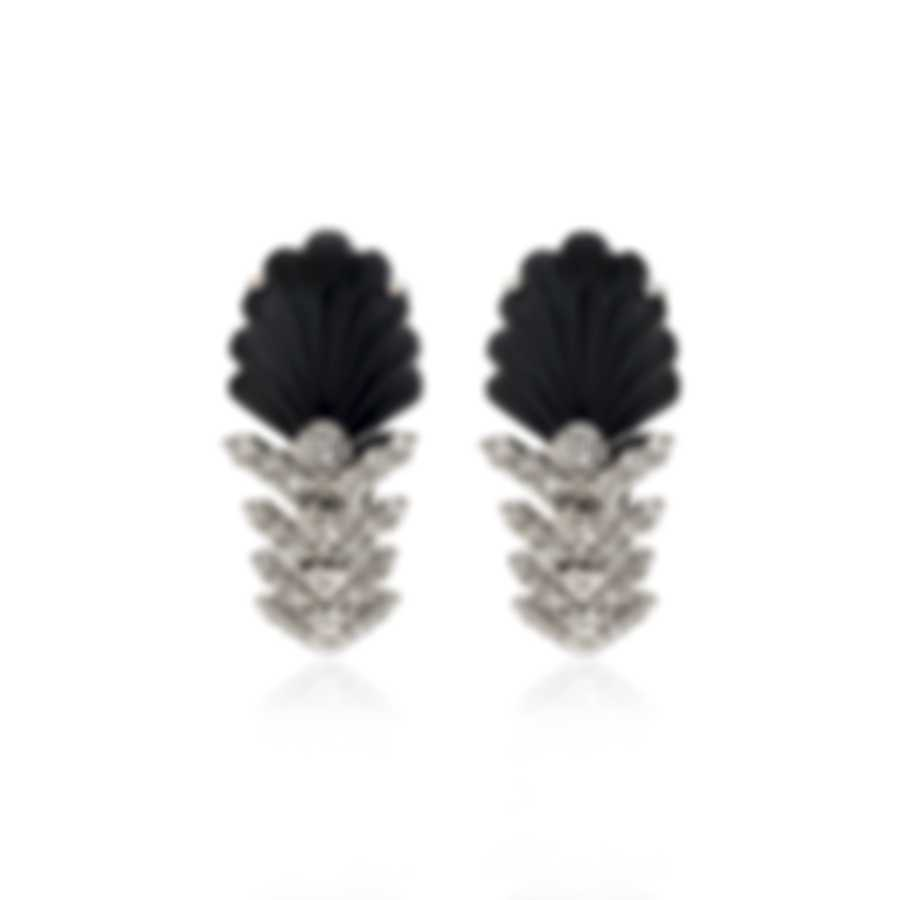 Lalique Lys 18k White Gold Diamond 0.72ct And Onyx Earrings 10472800