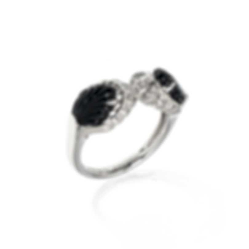 Lalique Lys 18k White Gold Diamond 0.11ct And Onyx Ring Sz 7 10473200