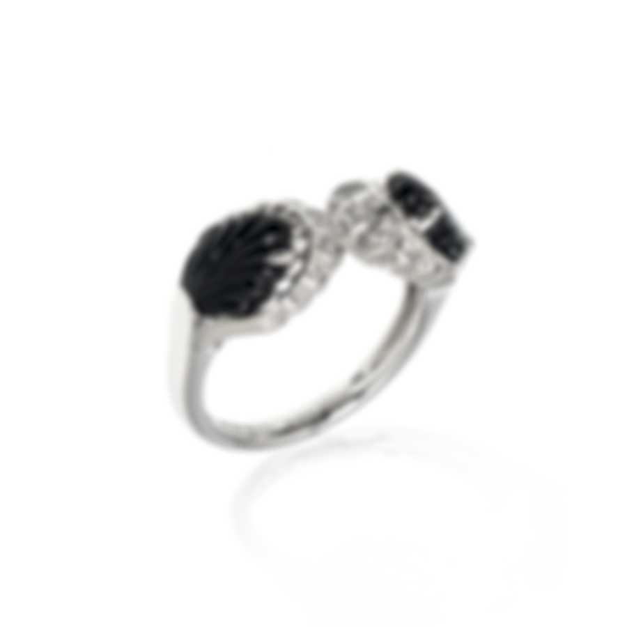 Lalique Lys 18k White Gold Diamond 0.11ct And Onyx Ring Sz 7 10473200