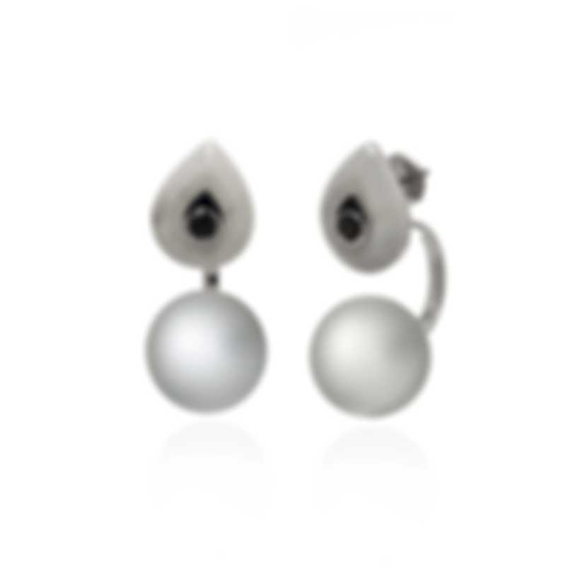 Lalique Mockingbird 18k White Gold Marble And Crystal Earrings 10546900