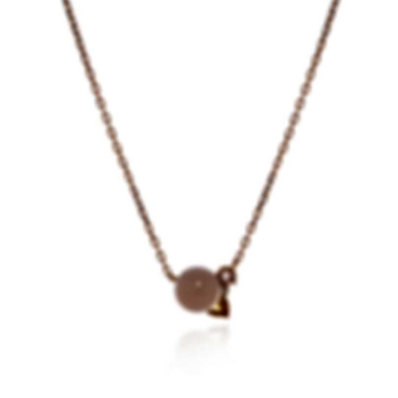 Lalique 18k Rose Gold Diamond 0.03ct And Pink Agate Necklace 10594500