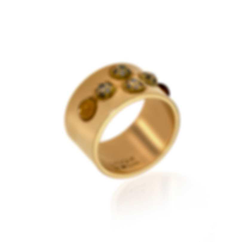Lalique Petillante 18k Gold Diamond 0.28ct And Amber Crystal Ring Sz 7 10152000