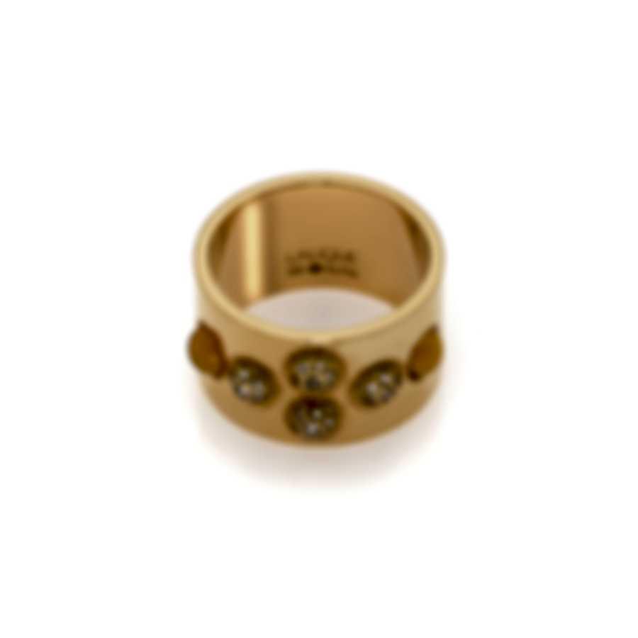 Lalique Petillante 18k Gold Diamond 0.28ct And Amber Crystal Ring Sz 6 10151700