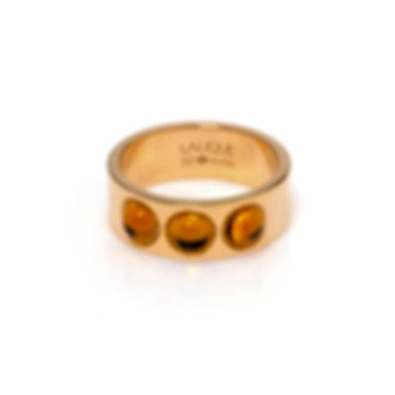 Lalique Petillante 18k Yellow Gold And Amber Crystal Ring Sz 6 10169800