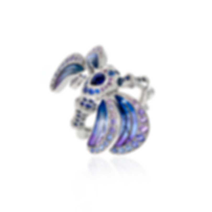 Lalique Libellule 18k White Gold And Sapphire Ring Sz 6 10278500