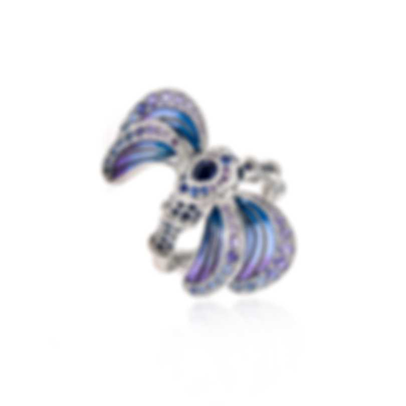 Lalique Libellule 18k White Gold And Sapphire Ring Sz 6.25 10278600