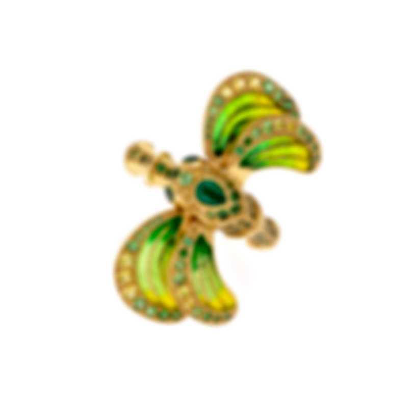 Lalique Libellule 18k Yellow Gold And Tsavorite Ring Sz 6.25 10279600