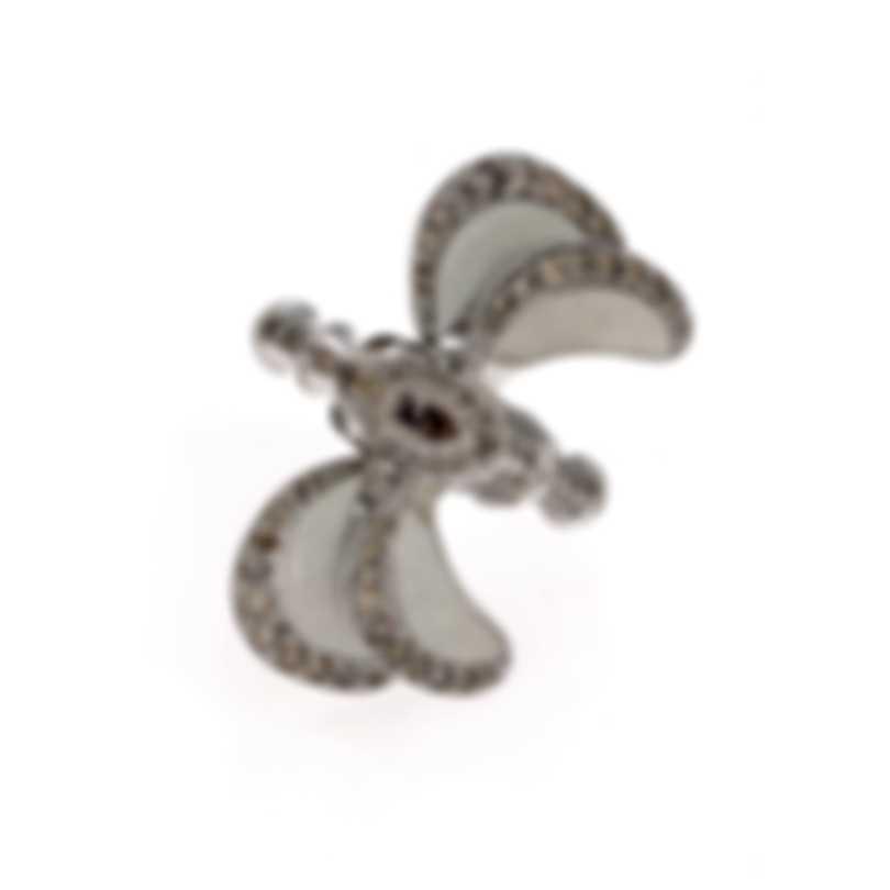 Lalique Libellule 18k White Gold Diamond 1.35ct Ring Sz 7.25 10280800