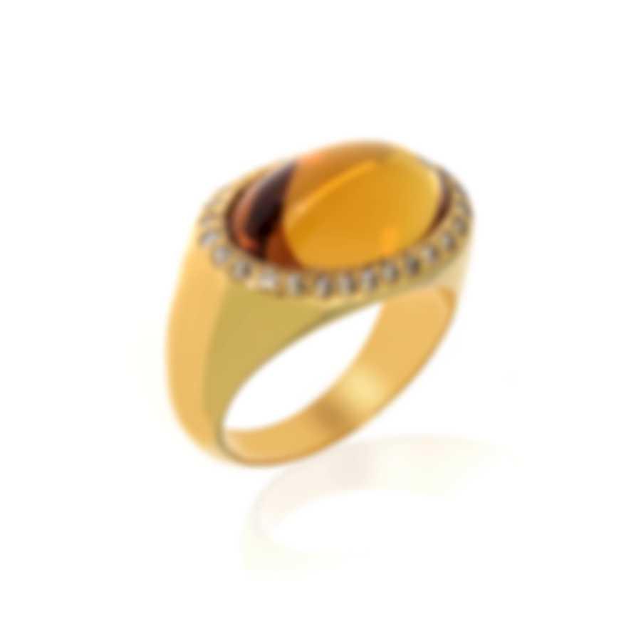 Lalique Petillante 18k Yellow Gold Diamond 0.28ct And Amber Ring Sz 6 10283500