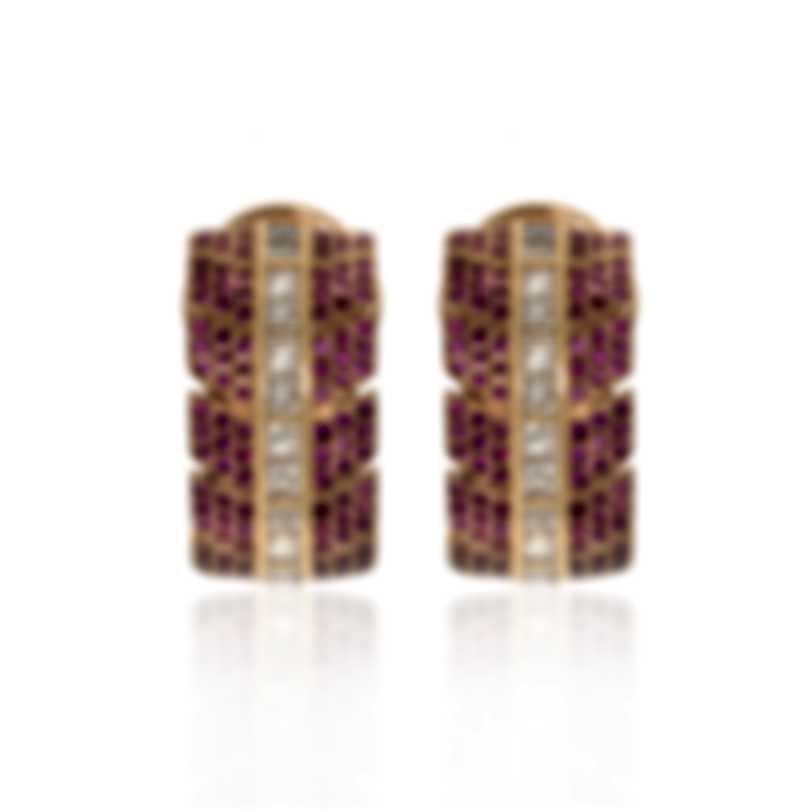 Lalique Eros 18k Rose Gold Diamond 1.12ct And Ruby Earrings Sz 6.5 10328000