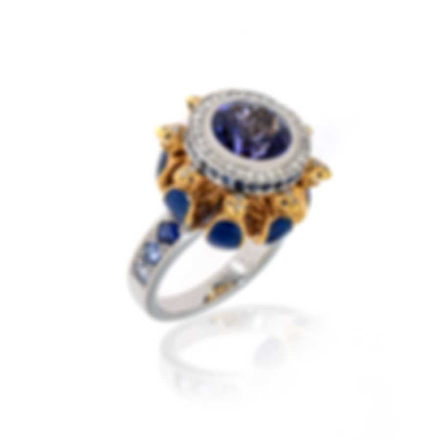Lalique Serpent 18k White & Yellow Gold Diamond & Tanzanite Ring Sz6.5 10334800
