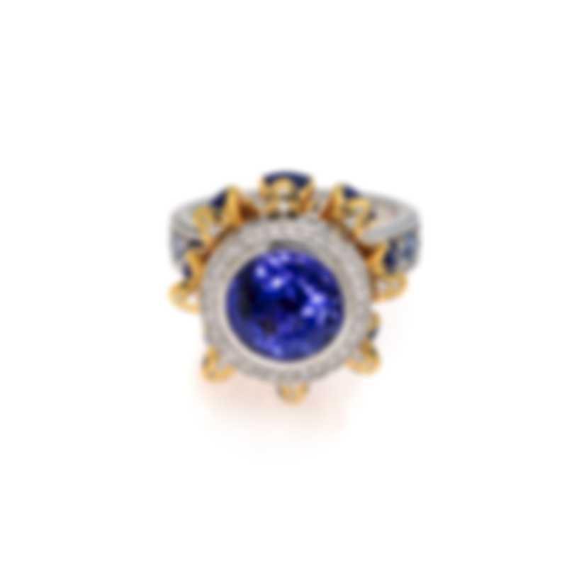 Lalique Serpent 18k White & Yellow Gold Diamond & Tanzanite Ring Sz7.5 10334900
