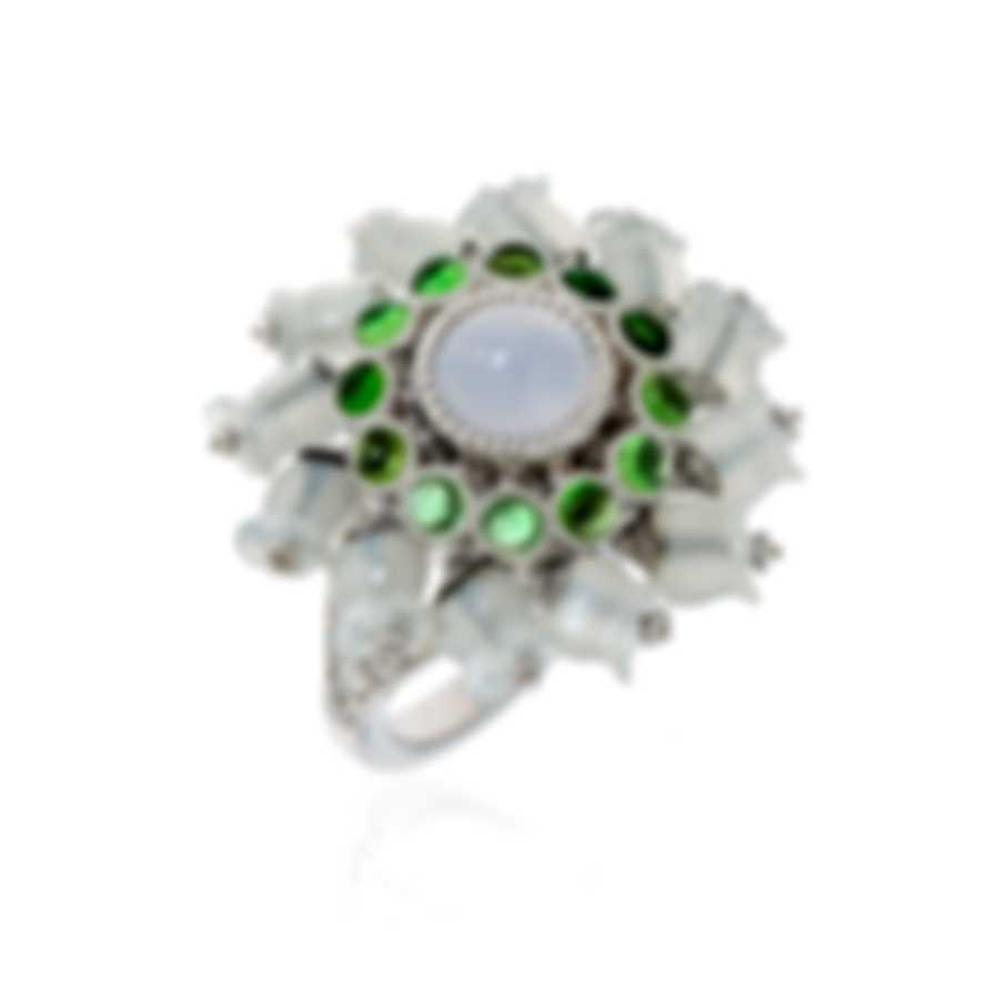 Lalique Muget Moonstone 18k White Gold Diamond & Chalcedony Ring Sz5.5 10341600
