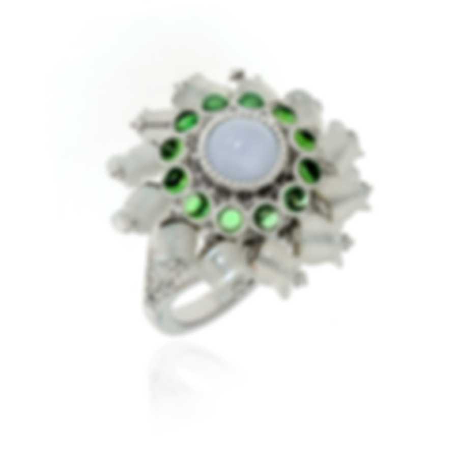 Lalique Muget Moonstone 18k White Gold Diamond & Chalcedony Ring Sz6.5 10341700