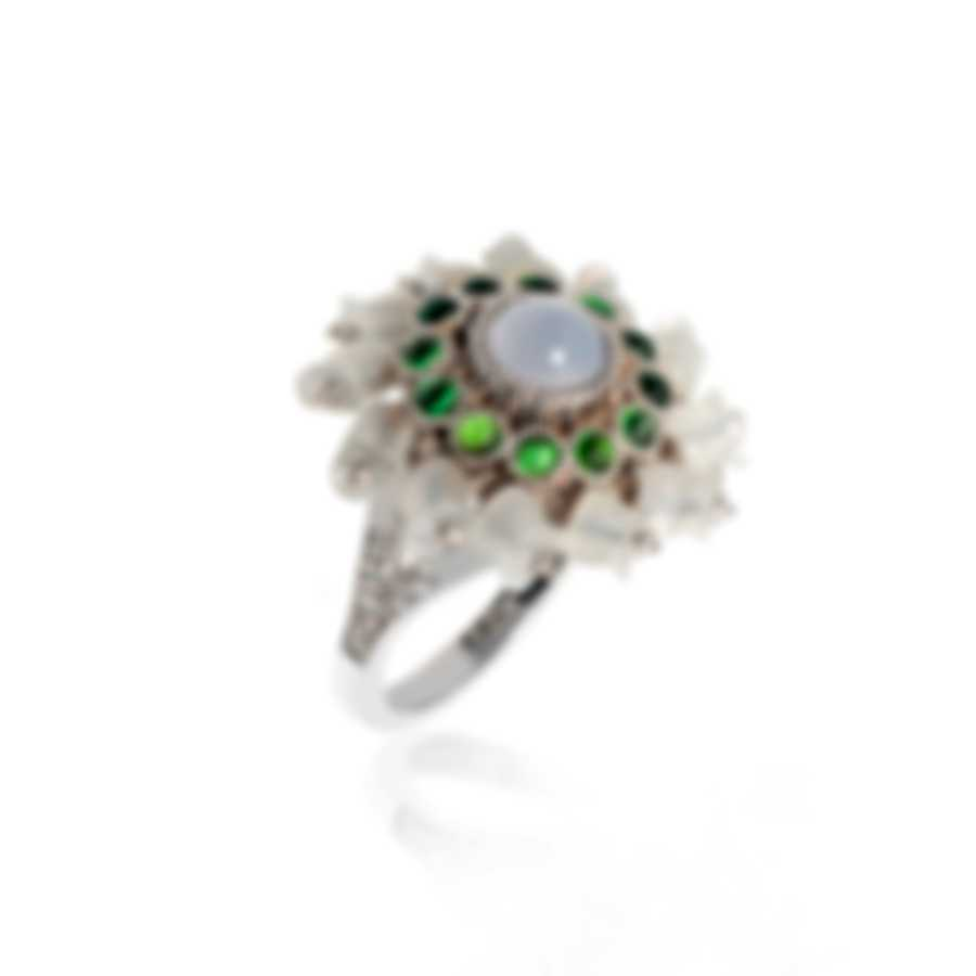Lalique Muguet 18k Gold Diamond 0.12ct Chalcedony Cabochon Ring Sz 7.25 10341800
