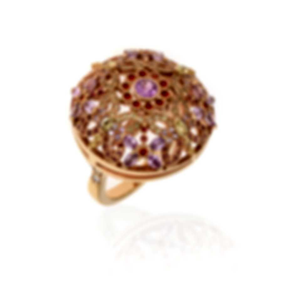 Lalique Psyche's 18k Rose Gold Diamond 0.1ct And Sapphire Ring Sz 7.25 10341000