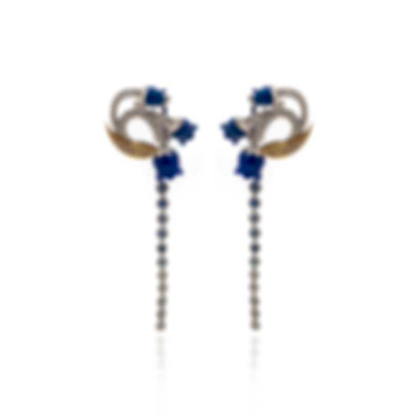 Lalique Muguet 18k White Yellow Gold Diamond 0.62ct Sapphire Earrings 10342700
