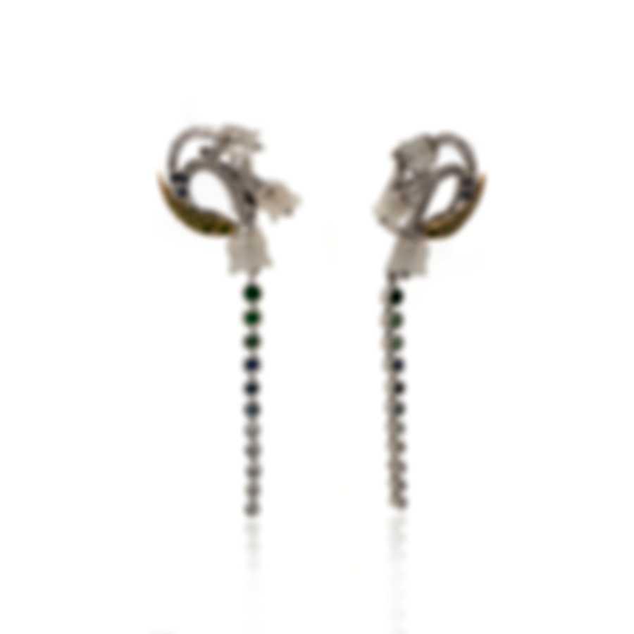 Lalique Muguet 18k White Yellow Gold Diamond 0.44ct Tsavorites Earrings 10342000