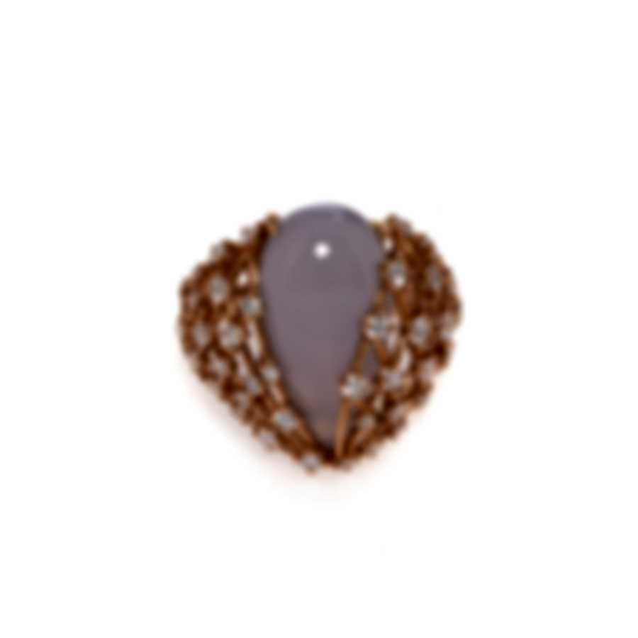 Luca Carati 18k Yellow Gold Diamond 1.25ct & Chalcedony Ring Sz 7.5 G1001A-BCE8