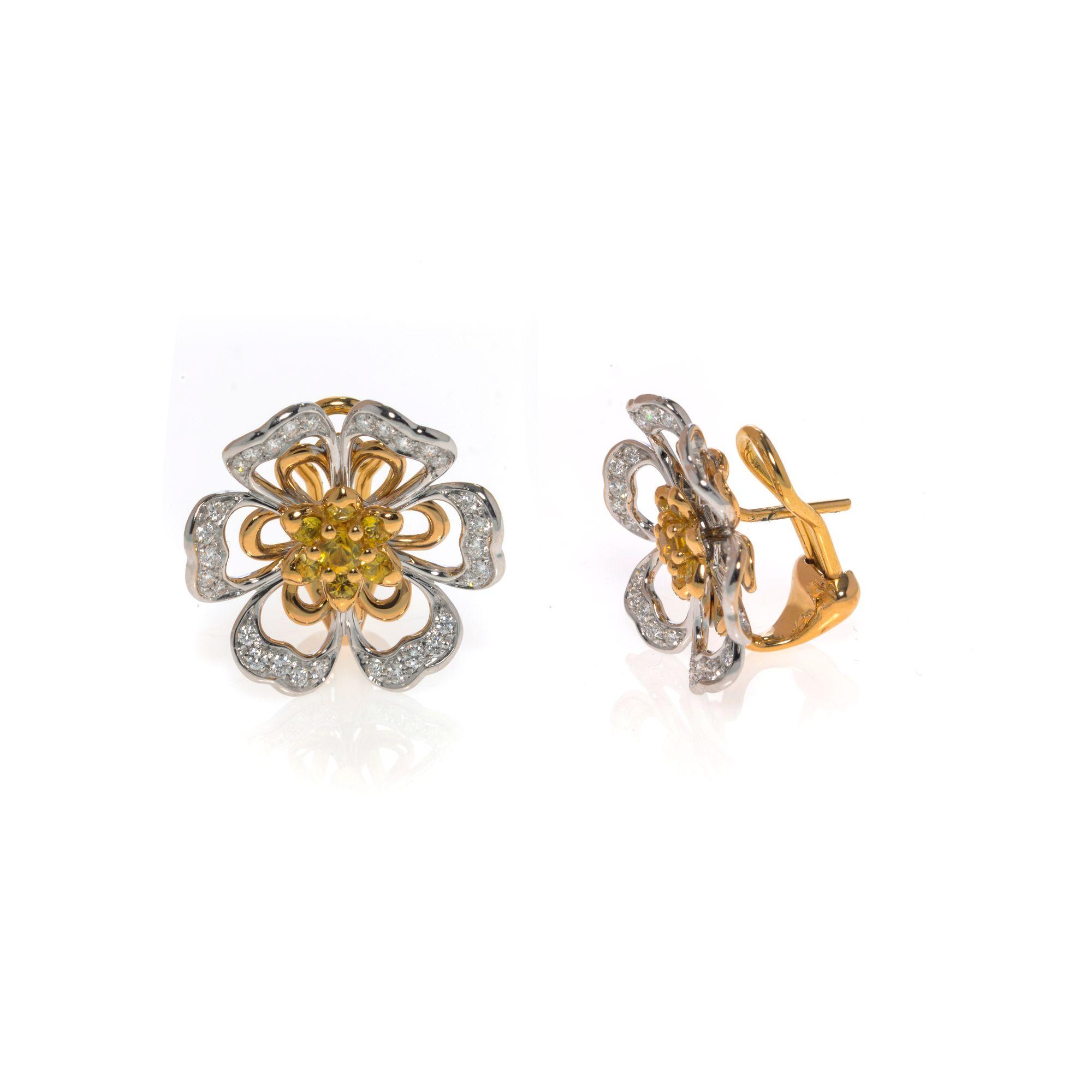 Luca Carati 220k Rose & White Gold Diamond 20.720ct Sapphire Earrings ...