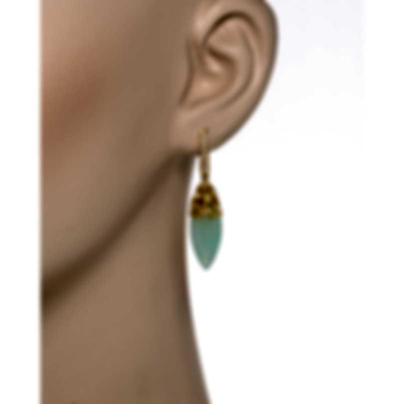 Luca Carati 18k Yellow Gold Diamond 0.45ct And Chalcedony Earrings G951B-B837